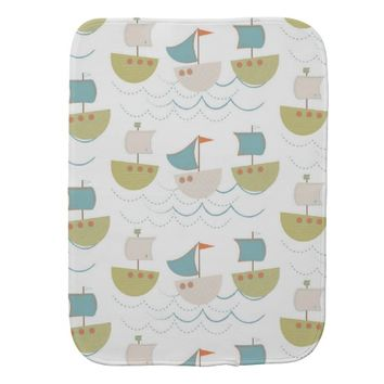 Beautiful Baby Gift or Shower Sailboat Pattern Baby Burp Cloth