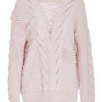 Pink Wool Cashmere V Panel Sweater | Moda Operandi