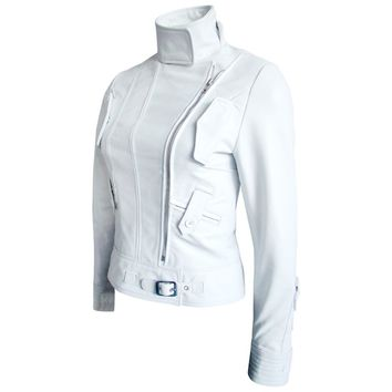 Women White Angel Brando Leather Jacket
