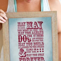 Forever Young Lyrics Art Print, Forever Young Song Lyrics, Forever Young Quote Poster 11 x 14