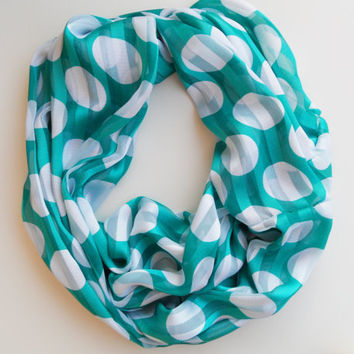 shiffon scarf, Turquoise with White Polka Dots Infinity Scarf, Circle Scarf, Women Accessories, infinity scarf, trendy, modern scarf