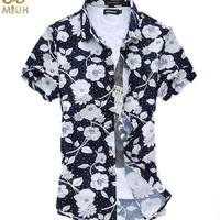 Miuk Super Large Size Floral Lycra Camisa Masculina 6XL 5XL Slim Fit Brand Shirt Casual Business Summer Hawaiian Shirt Men 2015 New = 1958503684
