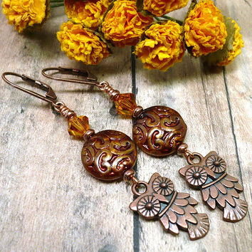 Antique Copper Owl Czech Coin Swarovski Topaz Dangle Bird Earrings