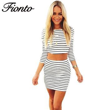 2018 Sets Summer Style Lady Bodycon Midi Dress Set Party Vestidos Striped Two Piece Outfits Costume For Sexy Women