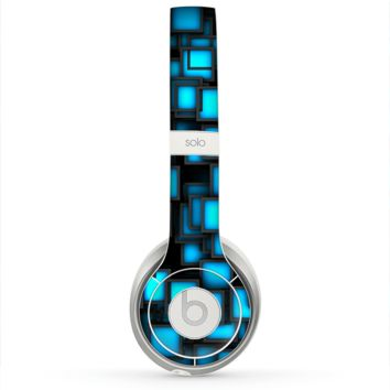 The Neon Blue Abstract Cubes Skin for the Beats by Dre Solo 2 Headphones