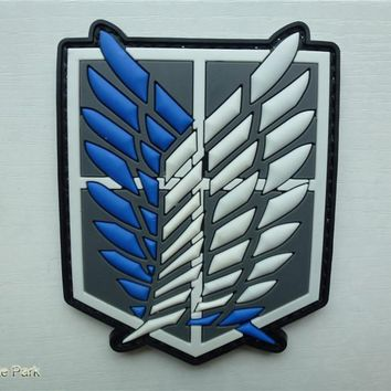 Cool Attack on Titan pvc rubber  patches hook&loop Morale  Military patches  Epaulette armband  tactical patch cosplay for coat jacket AT_90_11