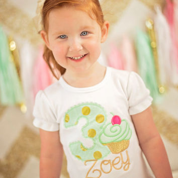 Cupcake Birthday Shirt for girls -- Cupcake Glamour -- cupcake theme birthday shirt in mint and gold