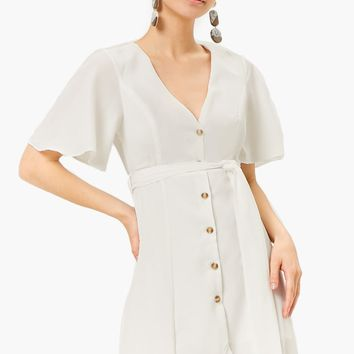 Button Front High-Low Dress
