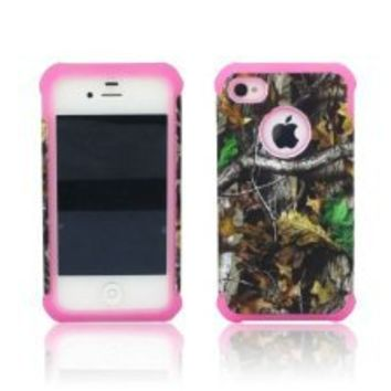 ANTI-SHOCK HYBRID 2 IN 1 MOSSY TREE OAK CAMO HUNTER IPHONE 4 4S COVER CASE PINK THICK SILICONE INSIDE AND HARD PLASTIC RUBBERIZED COVER OUTSIDE