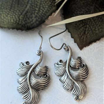 Retired Barse Sterling Silver Drop Dangle Leaf Earrings