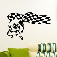 Wall Decal Vinyl Sticker Helmet Skull Tracing Flag Decor Sb422
