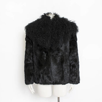 Vintage 1980s Fur Jacket SHEARLING + Rabbit Black Coat 80s - Medium