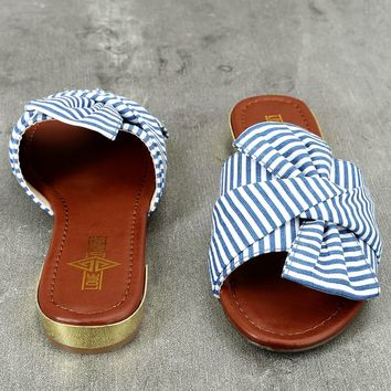 Winnie Blue and White Knotted Slide Sandals