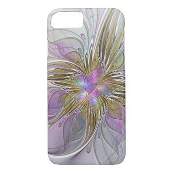 Floral abstract and colorful Fractal Art iPhone 7 Case