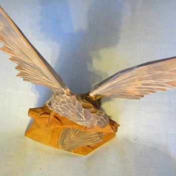 Russian Hand Carved Eagle Falcon With Baby Wood Sculpture