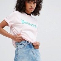 Wasted Paris Boyfriend T-Shirt With Gothic Text Logo at asos.com