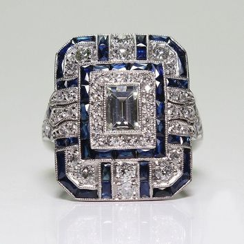 Antique Art Deco 925 Sterling Silver Blue Sapphire & Diamond Ring