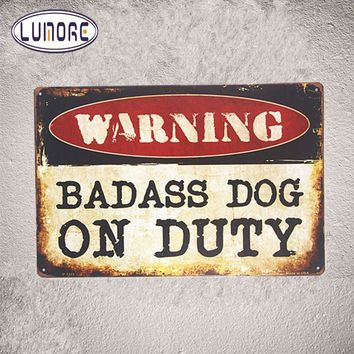 """Badass Dog on Duty"" Metal Wall Sign"