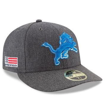 NFL Detroit Lions Heather Gray Crafted in USA Low Profile 59FIFTY Fitted Hat