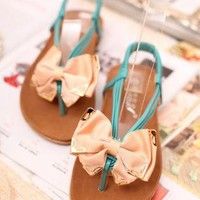 Bow Front Flat Sandals for Women jG060518