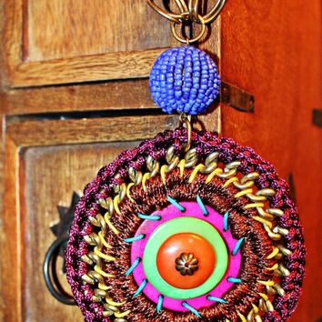 Vintage 1970s Crochet + Medallion Necklace