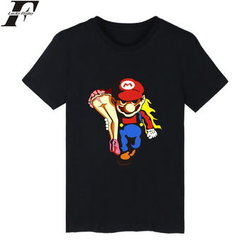 Super MarioRun Cartoon Game T-shirt Men Hip Hop Short Sleeve TShirts and T Shirt Men Luxury Print in Super Mario