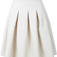 LE3NO Womens Faux Leather Pleated Midi Skater Skirt (CLEARANCE)