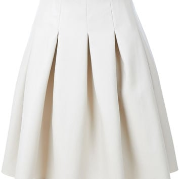 LE3NO Womens Faux Leather Pleated Midi Skater Skirt