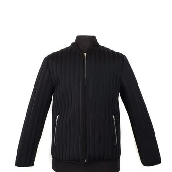 Black Neoprene Ribbed Jacket