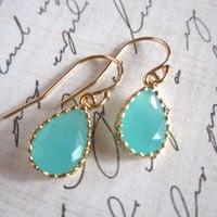 Tiffany Blue Earrings, Mint Blue Earrings, Bridesmaid Earrings, Bridesmaid Gift, Dainty Blue Earrings, Dainty Gold Earrings, Simple Earrings