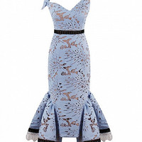 Blue V-Neck Laser Cut Lace Bodycon Pephem Dress