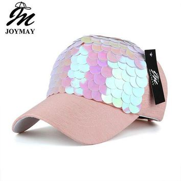 DCCKWJ7 JOYMAY Spring New Fashion Women Baseball cap with Sequins Shining Bling Adjustable Leisure Casual Snapback HAT B438