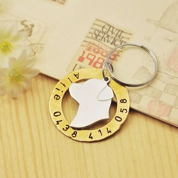 Personalized Rottweiler dog tag, Hand stamped Pet Tag, Custom Name & Phone number, Dog Charm, Alloy Pet Jewelry, pet ID tag