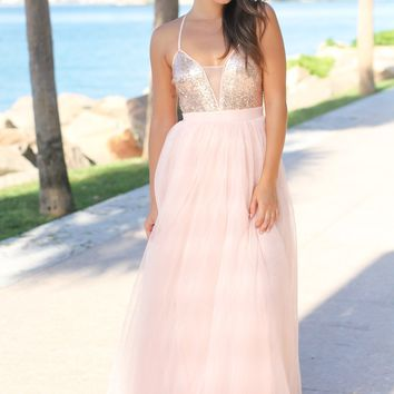 Rose Gold Sequin Maxi Dress with Tulle Skirt