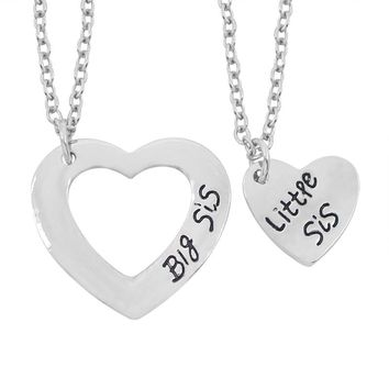 2Pcs/Set Silver Hollow Love Stitching Heart Necklace Big Little Sis Necklaces & Pendant For Sisters Best Friend Forever Keepsake