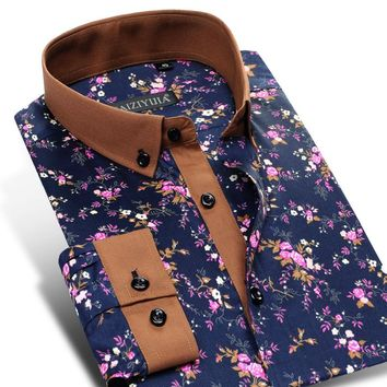 Men's Floral Print Shirts Spring Long Sleeved Square Collar Button-Down 100% Cotton Causal Slim Fit Shirt Chemise Homme