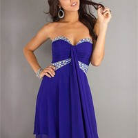 Sweetheart Column open back purple Mini with beads Prom Dress PD0244