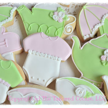 Decorated Tea Party Baby Shower Shortbread Cookie Assortment, Tea Pot, Onesuit, Tea Cup, Pregnant Lady, Roses, RosettesPink, Lite Green