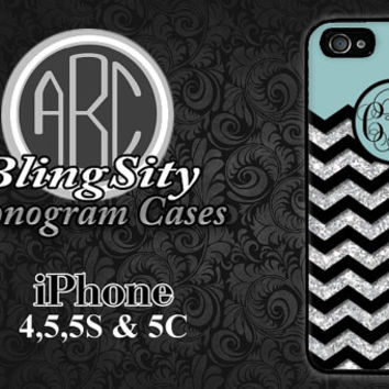 Blue Glittery Iphone 6 Case Black Chevron iPhone 4 5 5C Case Monogram Personalized Cover Rubber Silicone Not Actual Glitter
