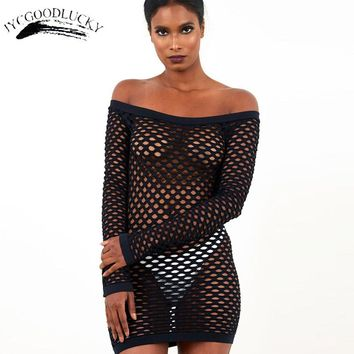 Hollow Beach Dresses Women Summer Wear 2017 Slash Neck Black Sexy Dress Club Wear Packaging Hip Women Mesh Sim Bodycon Dresses