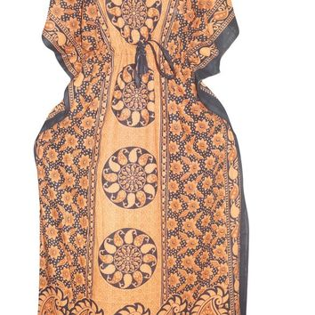 Women's Caftan Dress Orange Printed Long Kaftans Maxi House Dresses One Size
