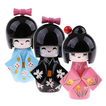 3PCS Wood Japanese Kimono Kokeshi Doll Sweet Smiling Girl Toy Home Desk Decor #1