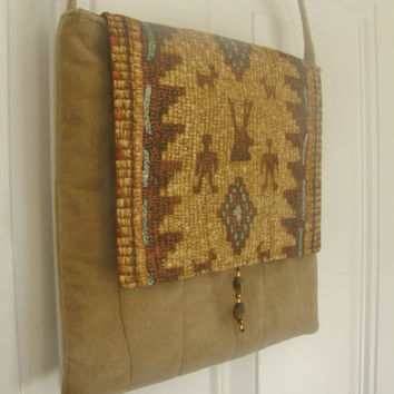 Southwest Cross Body Bag - Beige Velveteen