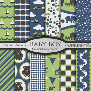 Baby Boy Digital Paper: Baby Boy Scrapbook Paper in Masculine Colors - Baby Digital Paper with Nautical for Newborn or Shower