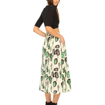 Olla A Line Midi Skirt in Cactus by Motel