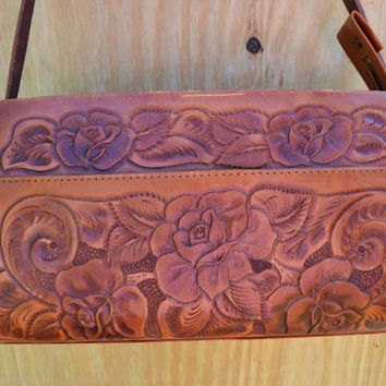 Tooled Leather Purse Mexican Tooled Leather by founditinatlanta