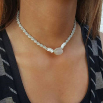 Natural Hemp Choker, White Agate, Puka Shell Necklace, Hemp Necklace, Beach Jewelry, Handmade Jewelry, Natural Necklace, Hippie Girl Jewelry
