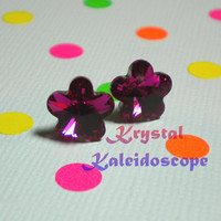 Adorable Hot Pink Fuchsia Crystal Daisy Flowers - Post Earrings handmade with Swarovski Elements, 10mm Studs