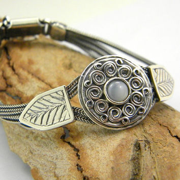 Sterling silver mother of pearl bracelet multi chain strand braided 925  -bangle-  oxidized chains byzantine style