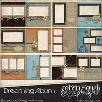 Digital Quick Page Album - Dreaming Digital Scrapbook Album - 12 Pre-Made Layout Pages